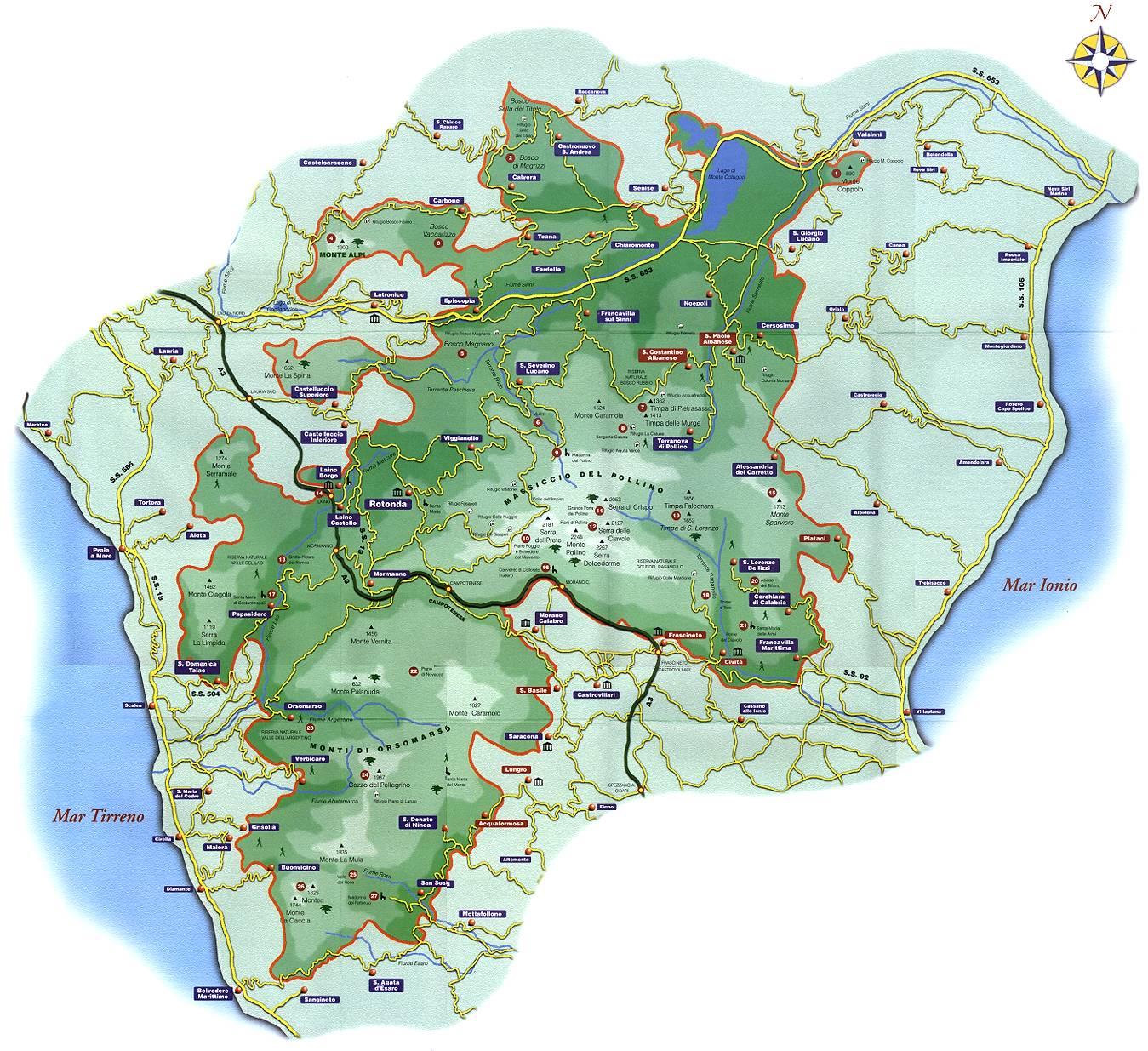 Mappa Parco Nazionale del Pollino